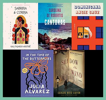 Selections of fiction books written by Hispanic writers.